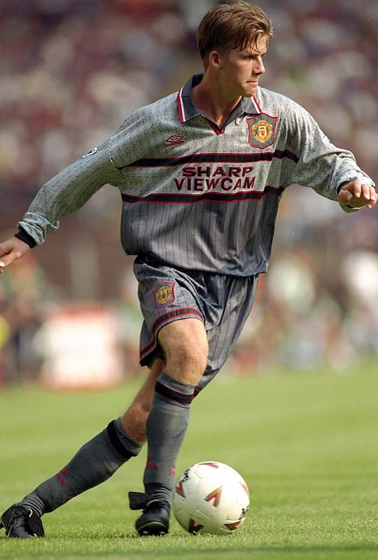 In a Champions League match against Galatasaray, Beckham scored his first goal for Manchester United -- one of more than 80 goals he would score for the club in 12 years.