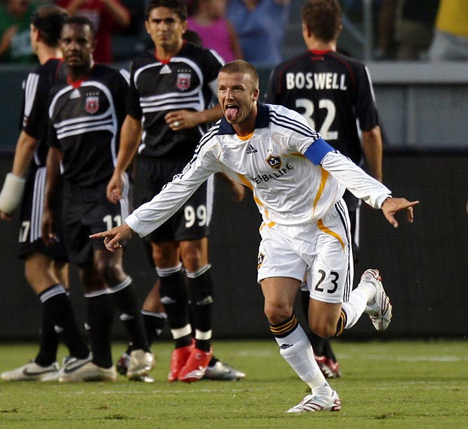 On Aug. 15, a week after his MLS debut, Beckham and the Galaxy faced off against D.C. United in the SuperLiga semifinals. It was a game of firsts for Beckham: first start, first game as captain and first yellow card. He also recorded his first goal (off a free kick, of course) and assist. His efforts gave the Galaxy a 2--0 victory, earning them a birth in the final against Pachuca of Mexico.