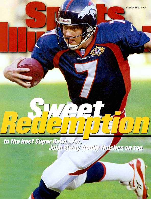 After years of gridiron heartbreak, Elway, at the advancing age of 37, captured his first Super Bowl in storybook fashion, a 31-24 victory over the heavily favored Green Bay Packers. It was Denver's first Super Bowl victory and Elway would go on to lead his team to a second Super Bowl win a year later. ''You wonder if you're going to run out of years,'' Elway said. ''But fortunately, I hung on.''