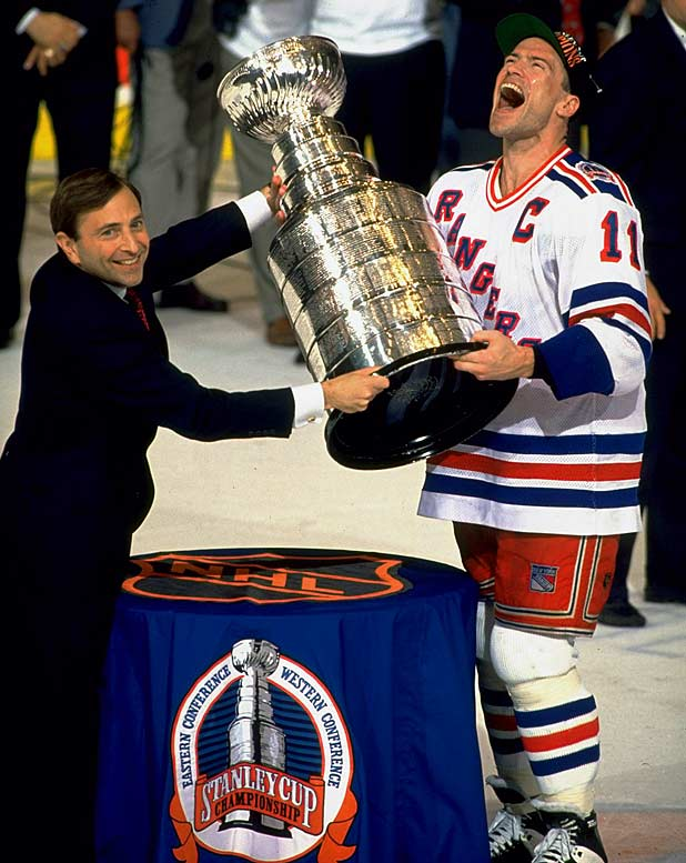 "The drought had become a chant -- opposing fans taunted the franchise with cries of ""1940, 1940,"" the last time the Rangers had won the Stanley Cup. But that ended in 1994 when the Rangers, behind the inspirational play of captain Mark Messier, beat the Vancouver Canucks in a thrilling 3-2 victory in Game 7 in the finals. As the New York Times reported: ""Tears and champagne flowed. A fan held up a sign that said ""Now, I Can Die in Peace."""