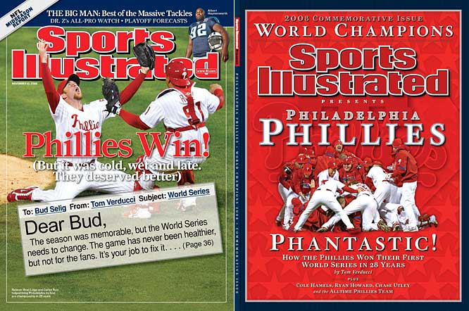 "The Phillies defeated the Rays four games to one in the 2008 World Series to claim the city's first major sports championship in 25 years. Shortstop Jimmy Rollins summed up the city's relief. ""It's over,"" Rollins said. ""It's over, man."""