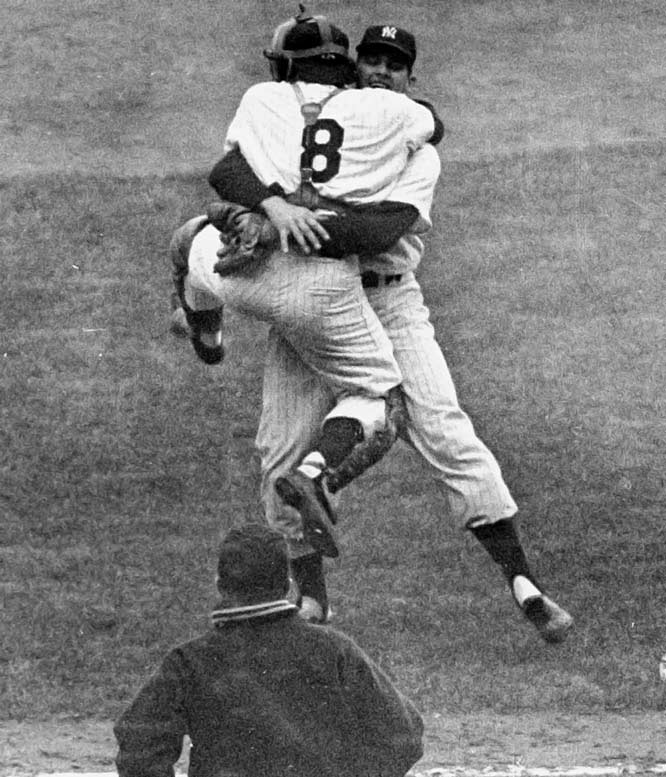 The series is best remembered for Don Larsen's perfect game in Game 5, but few recall that New York was smacked around by Brooklyn in the first two games. Yogi Berra's two home runs in Game 7 completed the comeback.