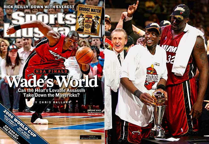 After dropping the first two NBA Finals games in Dallas, Heat star Dwayne Wade took over the series. He averaged 34.7 points for the entire series and scored 36 points in a taut 95-92 Game 6 win. The victory gave Miami its first championship in franchise history and added additional hardware for Pat Riley (his fifth title as a coach) and center Shaquille O'Neal (No. 4 as a player).