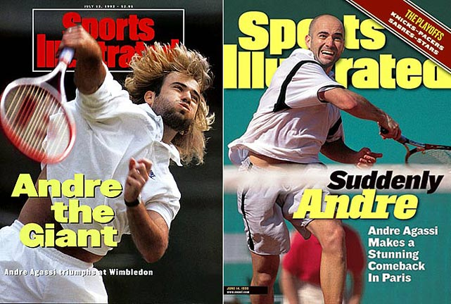 Australian Open (1995, 2000, '01, '03)   French Open (1999)   Wimbledon (1992)   US Open (1994, '99)     Agassi became the fifth player to complete a career Grand Slam at the 1999 French Open, where he came from two sets down to defeat Andrei Medvedev for the fourth of his eight major championships.
