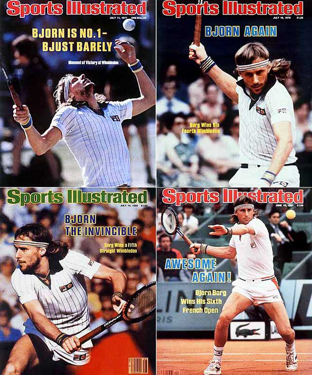 French Open (1974, '75, '78, '79, '80, '81)   Wimbledon (1976, '77, '78, '79, '80)     The Swede won six French Open and five Wimbledon titles from 1974 through '81, cementing his place among the sport's all-time greats. He won the French and Wimbledon in the same year three consecutive times.
