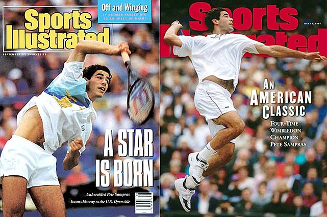 Australian Open (1994, '97)   Wimbledon (1993, '94, '95, '97 '98, '99, 2000)   US Open (1990, '93, '95, '96, 2002)    Sampras, the year-end world No. 1 for six consecutive seasons during the 1990s, won seven Wimbledon, five U.S. Open and two Australian Open championships. He won his 14th and last Grand Slam title at the '02 U.S. Open -- his last appearance at a top-flight event -- with a four-set victory over longtime foil Andre Agassi.