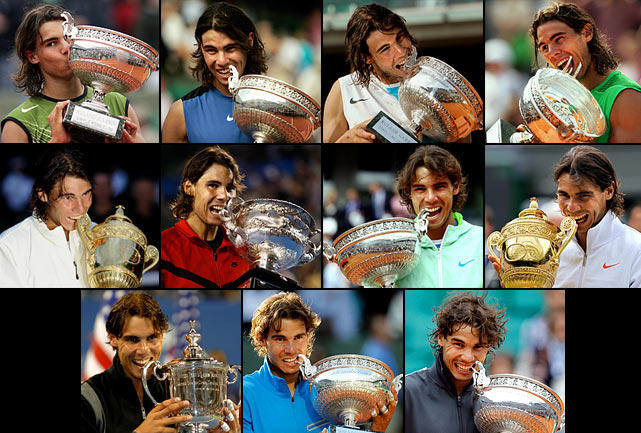 Australian Open (2009)   French Open (2005, '06, '07 '08, '10, '11, '12)   Wimbledon (2008, '10)   US Open (2010)    Seven of Nadal's 11 Grand Slam titles have come from the French Open.  He completed his career Grand Slam at the 2010 US Open.  Nadal is just the seventh man in history with at least one title from each of tennis' four most important tournaments.