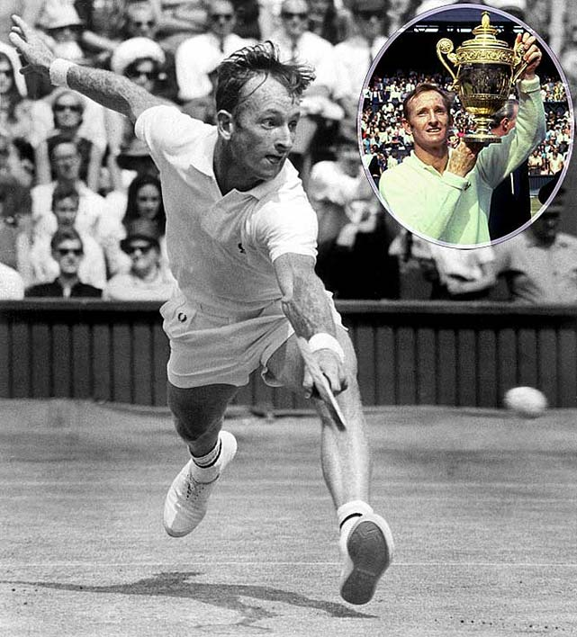 Australian Open (1960, '62, '69)   French Open (1962, '69)   Wimbledon (1961, '62, '68, '69)   US Open (1962, '69)    Considered by many the greatest player of all-time, the diminutive Aussie remains the lone men's player to achieve  two  Grand Slams in the same calendar year -- once as an amateur (in 1962) and again as a professional (in 1969).