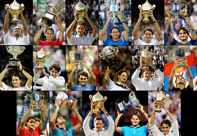 Australian Open (2004, '06, '07, '10)   French Open (2009)   Wimbledon (2003, '04, '05, '06, '07 '09, '12)   US Open (2004, '05, '06, '07, '08)    Federer surpassed Pete Sampras for all-time Grand Slam titles with a 5-7, 7-6 (6), 7-6 (5), 3-6, 16-14 victory against Andy Roddick at Wimbledon in 2009, his sixth title at the All England Club. The historic win came just a few weeks after the 27-year-old Federer broke through for his first French Open crown. He added No. 17 at Wimbledon in 2012.