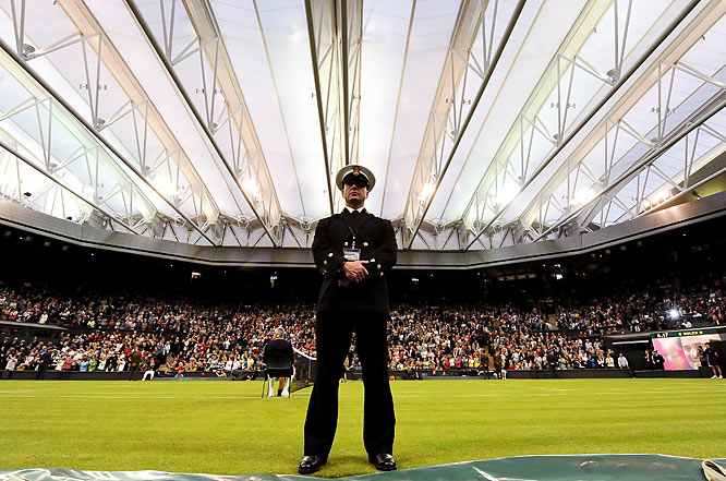 For the first time in Wimbledon's 123-year history, Centre Court is rainproof, thanks to a translucent retractable roof that takes 10 minutes to close. Alas, the rest of the courts will not have the same luxury.