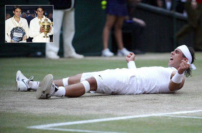 """This is the greatest match I've ever seen,"" said John McEnroe. The match -- the longest men's final in Wimbledon history -- was a 4-hour, 48-minute, twice-rain-delayed, five-set spectacle between the world's two most skilled players at the peak of their abilities. At the conclusion, the second-ranked Nadal achieved his first Wimbledon championship, 6-4, 6-4, 6-7 (5), 6-7 (8), 9-7, while preventing the top-ranked Federer from winning his record sixth in a row."