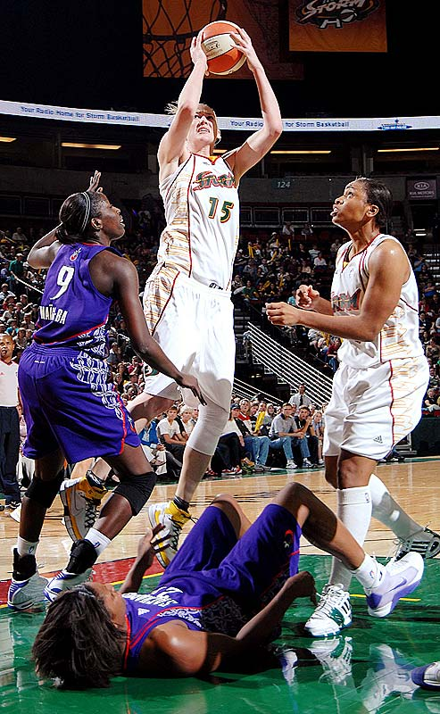Lauren Jackson's (pictured) average of 19.5 points, 7.9 rebounds and 2.0 blocks after three games makes plain why the Storm could ill-afford not to re-sign her in the offseason. Meanwhile, Swin Cash's 9.0 points and 4.7 boards per suggest she's near full strength after having surgery to repair a herniated disc in her lower back this spring. Tanisha Wright (11.0 ppg, 2.7 apg, 2.3 spg) has  emerged as a solid third option in the wake of Sheryl Swoopes's waiver, but solid enough for the Storm to hold on to the pole position? We'll see.  <br><br>Next three: 6/12 at Minnesota; 6/14 at Chicago; 6/19 vs. Minnesota
