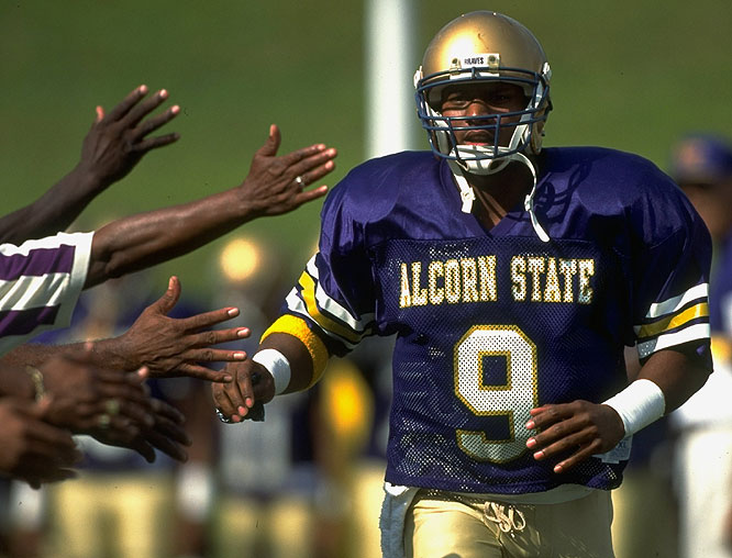 Despite playing at tiny Alcorn State, McNair achieved national status as a standout quarterback.
