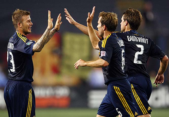 In his first game back with the L.A. Galaxy this season, David Beckham faced boos and cheers.  Here are some more memorable moments from Thursday night's Galaxy victory over the Red Bulls.