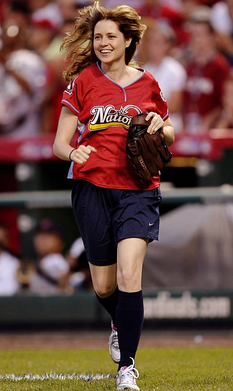 Actress Jenna Fisher takes the field at Busch Stadium for the National League.  Sunday marked the St. Louis native's first time at Busch Stadium.