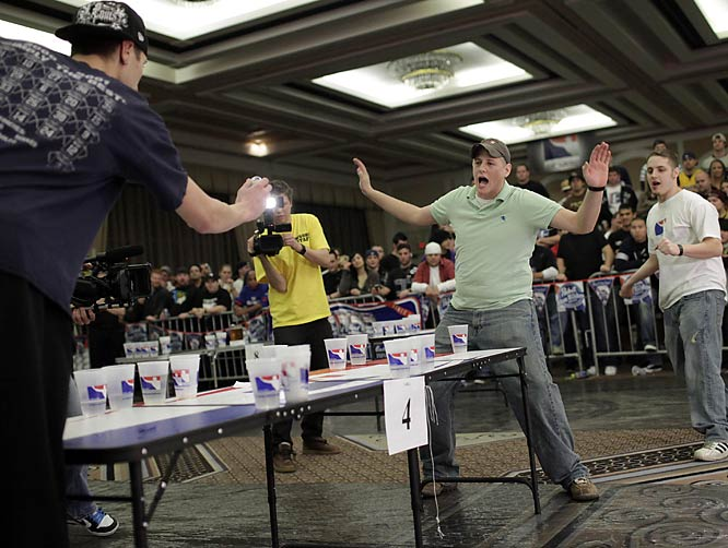 A staple of college campuses everywhere, tossing ping pong balls into cups of beer is now serious business. The World Series of Beer Pong IV in Las Vegas offered up a $50,000 top prize and attracted more than 400 teams.