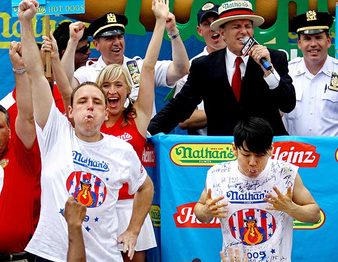 "If contests of raw intestinal fortitude are your cup of tea, you'll thrill to gutsy ""athletes"" chowing down on everything from asparagus to wings with a strict time limit. The most well-known event is the annual Nathan's Famous Fourth of July International Hot Dog Eating Contest in Coney Island, NY. This year's repeat winner (so to speak) was Joey Chestnut, who ingested a gut-busting world record 68 dogs and buns in 10 minutes to beat archrival Kobayashi (64)."