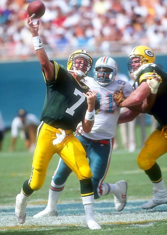 The Majik Man played 10 NFL seasons, including six in Green Bay (before a guy named Brett Favre rolled into town). He was at his most magical in 1989, when he led the league in attempts (599) and passing yards (4,318).