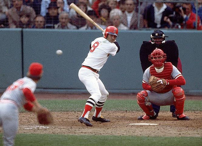Carl Yastrzemskiduring the 1975 World Series. Yaz played 23 seasons in a Red Sox uniform and remains one of the city's most popular athletes.