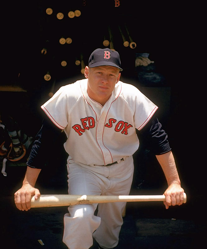 Right-fielder Jackie Jensen poses in the dugout before a game against Baltimore. Jensen would go on to win the MVP that year, batting .286 with 35 home runs and 122 RBI.