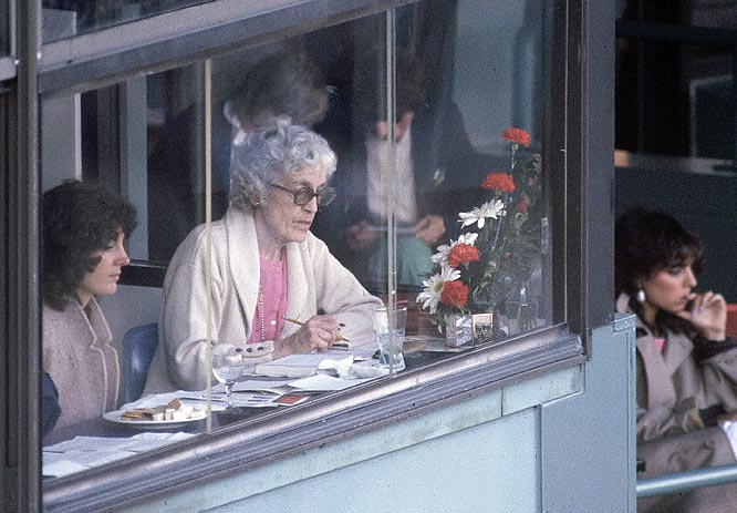 Former Red Sox President Jean Yawkey takes in the action from Fenway. Mrs. Yawkey took over as the team president after her husband, Tom, died in 1976. She stayed in that role until her own passing in 1992.