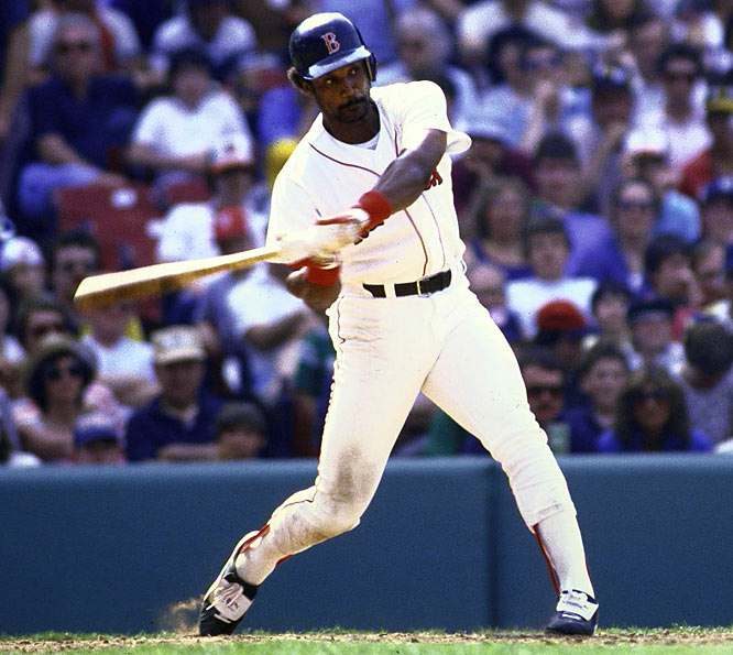Jim Rice, who earlier this year was elected to the Hall of Fame in his 15th (and final) year of eligibility, takes a swing during a game against Detroit.