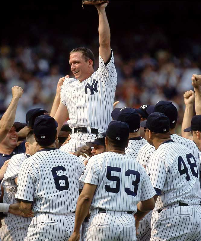 Cone was simply perfect on a day when perfection was in attendance. The original battery of the 1956 World Series perfect game (Larsen, Berra) were on hand as it was Yogi Berra Day in Yankee Stadium. Derek Jeter and Ricky Ledee homered and Cone struck out 10.