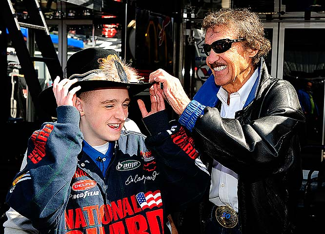 Richard Petty greets New York State spelling bee champion Thomas Harkins Jr.