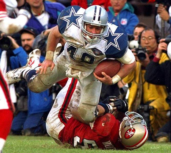"""Backup quarterback Babe Laufenberg started calling Johnston """"Moose"""" his rookie year because Johnson looked like a Moose walking in a field of deer compared to the small Dallas running back corp. Moose paved the way for much of Emmitt Smith and the Cowboys' success, winning three Super Bowls with Dallas. In 1993, Johnston was the first fullback ever selected to a Pro Bowl team."""
