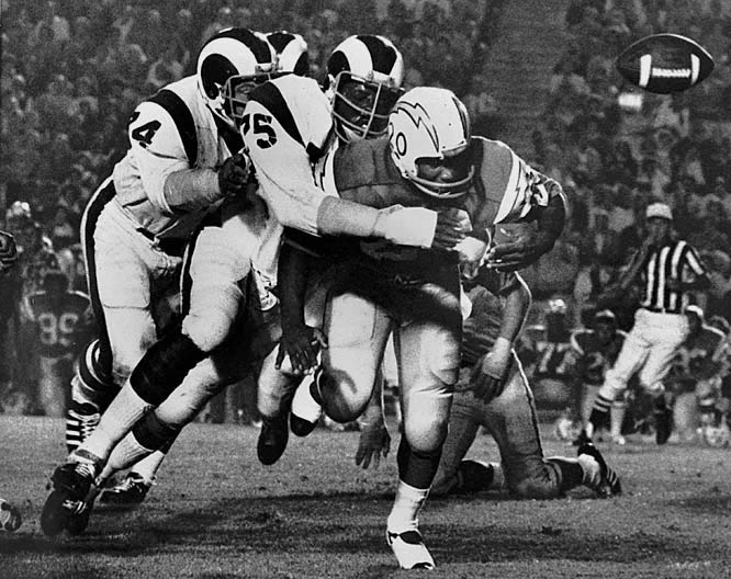 """Under the impression that nobody would remember a player named David Jones, this 1980 Pro Football Hall of Fame inductee nicknamed himself """"Deacon"""" in hopes that his memory would last forever.  Jones specialized in quarterback sacks, a term that he also coined himself.  Jones played a career total of 196 NFL games with the Los Angeles Rams, San Diego Chargers and Washington Redskins, winning unanimous all-league honors from 1965 through 1970, and playing in seven consecutive Pro Bowl games from 1965 to 1971."""
