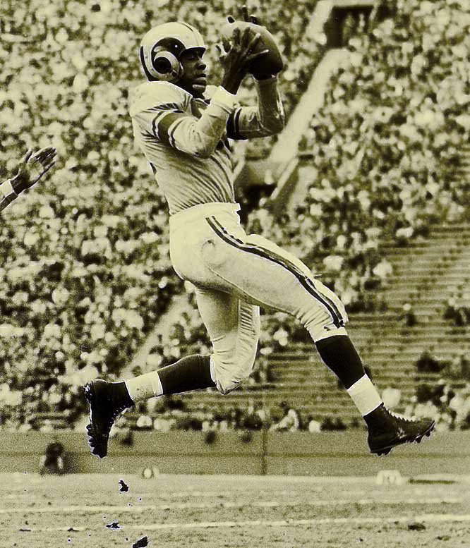 """A notoriously ferocious cornerback, Lane acquired his nickname from Buddy Morrow's hit record """"Night Train,"""" a record played frequently in the locker room by fellow Los Angeles Rams teammate Tom Fears. The banishment of the clothesline tackle was entirely due to the raw playing of Lane, who still holds the NFL's record for interceptions by a rookie cornerback with 14."""