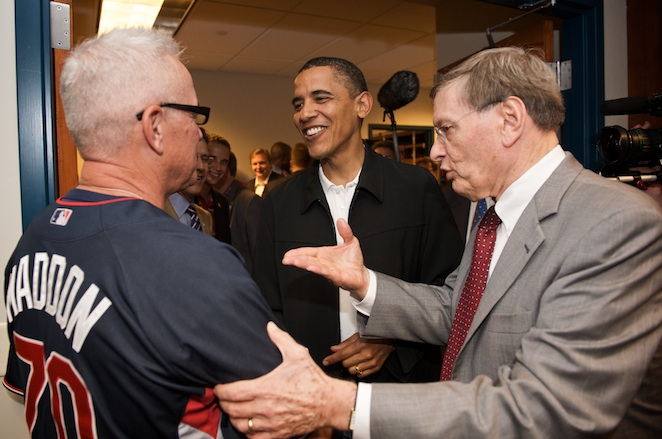 In the American League clubhouse, President Obama and Bud Selig chatted with Rays manager Joe Maddon.