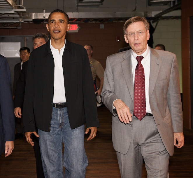 MLB commissioner Bud Selig was President Obama's pregame escort at Busch Stadium.