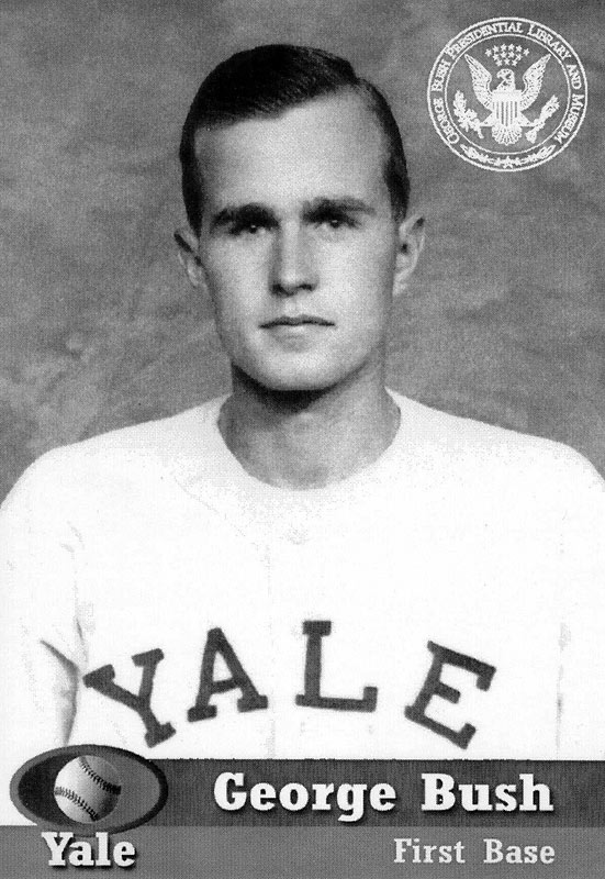 George H.W. Bush was the first president to have an official baseball card issued highlighting his playing days at Yale. The card's front shows Bush with the George Bush Presidential Library and Museum seal.