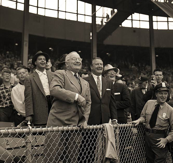 Harry Truman throws out the ceremonial first pitch on opening day of the 1955 baseball season.