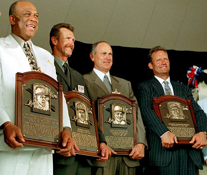 <i>Left to right</i>: Orlando Cepeda, Robin Yount, Nolan Ryan, George Brett. <i>Not pictured:</i> Smokey Joe Willams, Frank Selee, Nestor Chylak, Arch McDonald. <br><br>Brett is one of the five greatest third baseman in the history of the game. Ryan threw seven no-hitters and holds the single-season and career strikeout marks. Yount was a two-time AL MVP who finished with 3,142 hits. Williams, who rivaled Satchel Paige for the title of greatest pitcher in Negro League history, may have been better than all of them.