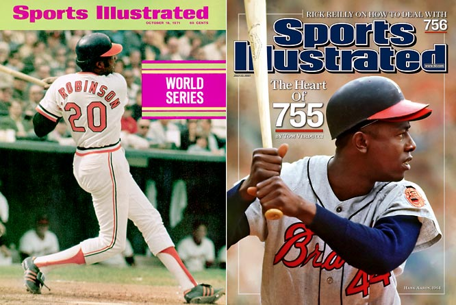 Frank Robinson, Hank Aaron. <i>Not pictured:</i> Travis Jackson, Happy Chandler, Vin Scully.  <br><br>Aaron and Robinson were the two most productive hitters of the 1960s, just ahead of the aging Willie Mays and Mickey Mantle. They ranked first and fourth on the all-time home run list in 1982 with 1,341 combined jacks. Aaron retired as the all-time leader in homers, RBIs, total bases, extra-base hits, intentional walks, and was second in runs and hits. Robinson was the second-to-last man to win the triple-crown, the first ever to win the MVP in both leagues, and was the first African American manager in the major leagues. Chandler was the commissioner who approved the Dodgers signing of Jackie Robinson, and Scully may be the greatest play-by-play man in baseball history.