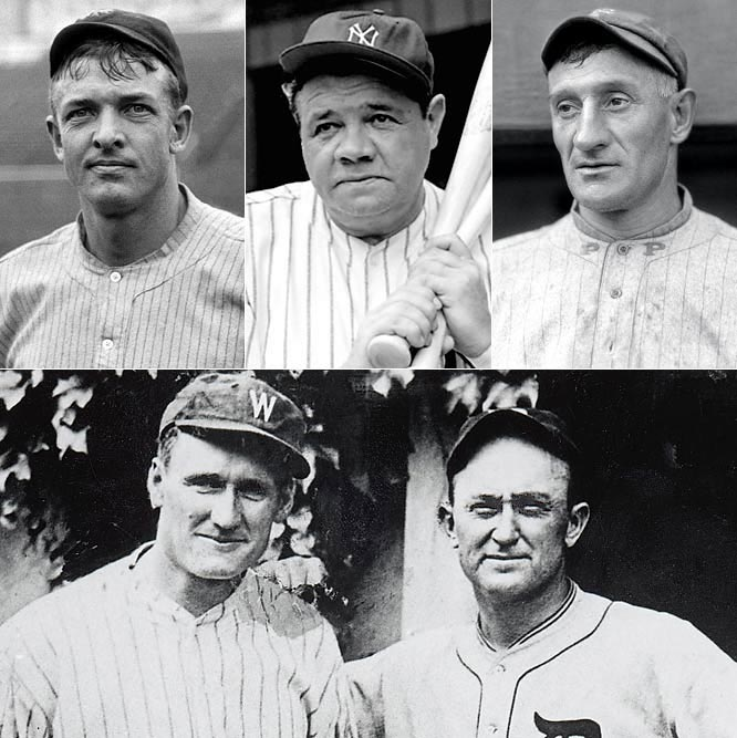 <i>Clockwise from top left:</i> Christy Mathewson, Babe Ruth, Honus Wagner, Ty Cobb, Walter Johnson. <br><br>The inaugural Hall of Fame class included the greatest player in baseball history (Ruth) and the two players who vied for the title before Ruth's arrival -- Wagner, the greatest shortstop in baseball history, and Cobb, once the all-time hits and stolen bases leader -- arguably the greatest pitcher in baseball history (Johnson), and Christy Mathewson, a man of great character and intelligence who won 372 games but was merely the fifth greatest player in this group. This is baseball's Mount Rushmore.