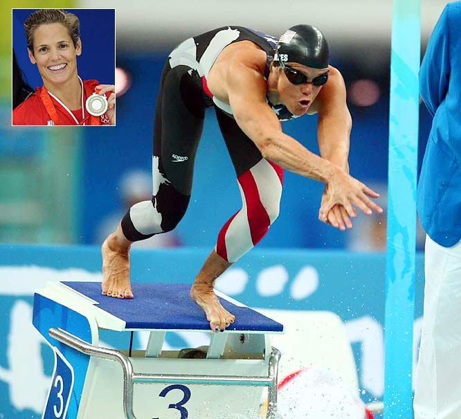 At 40, Torres wins gold in the 100-meter freestyle at the U.S. Nationals. The next year, she takes two silver medals at the Beijing Games.