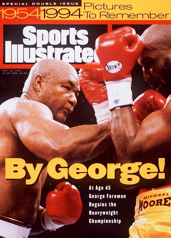 By knocking out Michael Moorer, the 45-year-old Foreman regains the heavyweight championship he had lost to Muhammad Ali 20 years before.