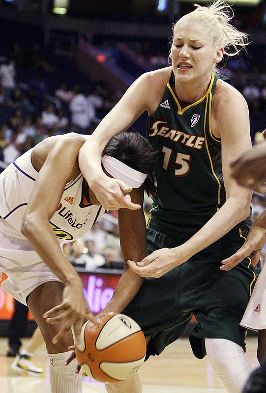 That they struggled to beat a short-handed Los Angeles squad at Key Arena last Friday, then suffered a blowout loss two days later at Staples Center does not reflect well on the Storm. If anything, it reveals just how hopelessly dependent they are on Lauren Jackson (pictured). That the Sparks were able to hold the two-time MVP to nine points on just 10 shots with their own long-limbed league MVPs Lisa Leslie or Candace Parker on the bench suggests there might be some chinks in the venerable Aussie's armor.<br><br>Next three: 7/1 at Phoenix; 7/7 vs. San Antonio; 7/9 vs. Sacramento