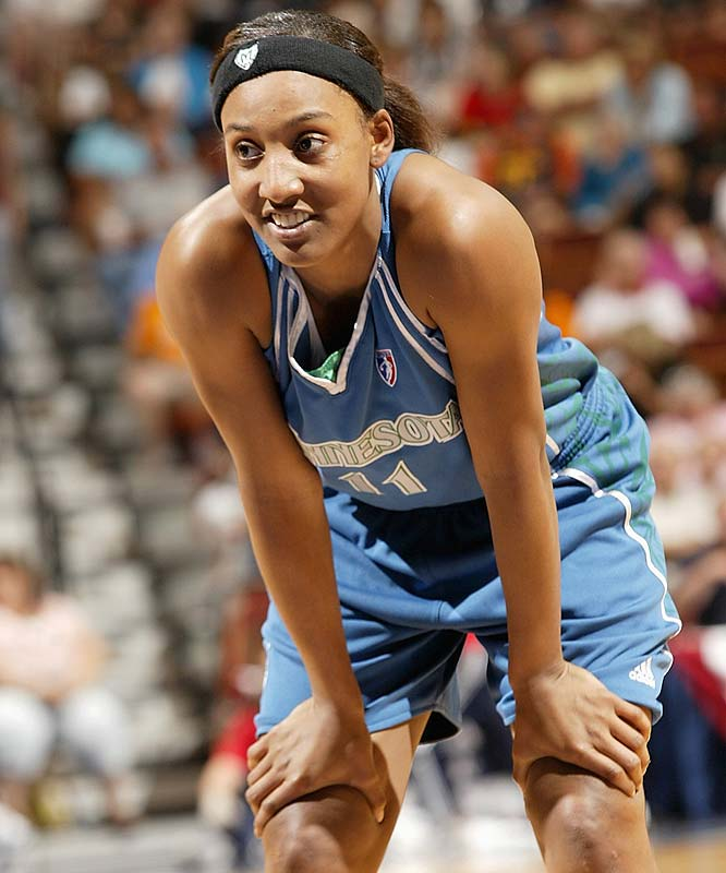 "Defeats at Connecticut (98-94) and at New York (80-67) extended the Lynx's league-leading losing streak to six in a row. At this rate, Candice Wiggins (pictured) and company are not only looking at missing out on the playoffs altogether -- Minnesota is tied for fourth place in the West with San Antonio -- but they might be in danger of getting leapfrogged by lowly (yet surging) Sacramento in the standings. However, Seimone Augustus, their injured leader, refuses to abandon hope. ""We still aren't out of it,"" she told the Pioneer Press. ""The team just needs to push through.""<br><br>Next three: 8/28 vs. Sacramento; 8/30 at Washington; 9/1 at San Antonio"