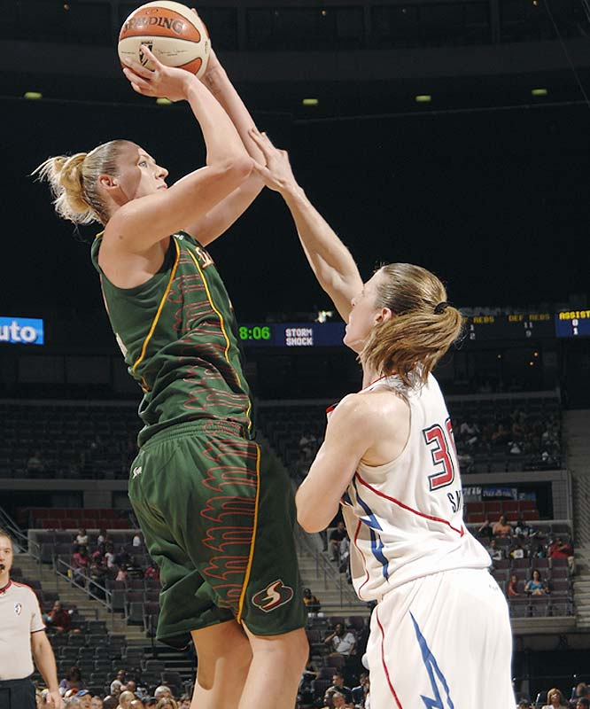 Last week was full of big moments for the Storm. It began with Lauren Jackson's (pictured) huge game against Detroit last Tuesday (she scored 36 points, the last nine on fourth-quarter threes, in a 79-75 win) and ended with an equally huge 74-60 victory over Indiana. Seattle not only denied the league's best team a second chance to clinch a playoff berth, but also held them to their lowest point total of the season. <br><br>Next three: 8/27 vs. Connecticut; 8/29 vs. Atlanta; 9/1 at New York