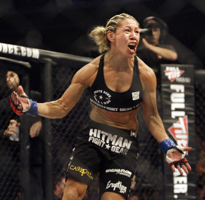 Referee Josh Rosenthal stopped the fight with one second remaining in the first round as Cyborg's round of punches earned her the Strikeforce 145-pound title.
