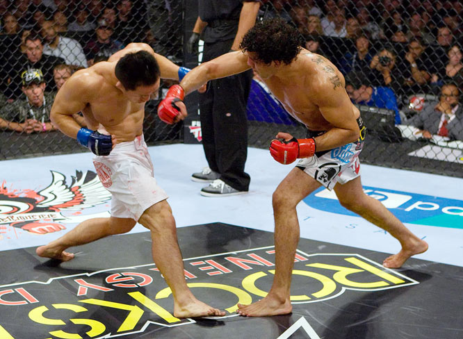 Also fighting on the Strikeforce card was Gilbert Melendez (red gloves), who looked to avenge a 2007 loss to Mitsuhiro Ishida. And he did. Melendez scored a third-round TKO victory to become the top contender in the promotion's light heavyweight division.