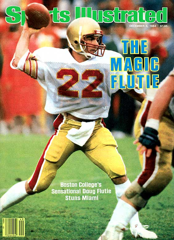 With six seconds left in the game, the ball on Miami's 48-yard line and Boston College down 45-41, the 5-foot-9 Flutie uncorked a desperation Hail Mary toward the end zone. Waiting for the pass was an uncovered Gerard Phelan, who caught the ball for a miraculous 47-45 victory against the defending national champs. Flutie's Hail Mary is arguably the greatest play by a Heisman winner.