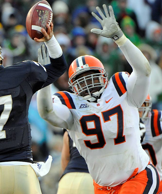 After an offseason pectoral tear threatened his senior season, Jones returns with a renewed appreciation and hunger. The Outland Trophy candidate has never been a sack machine, but he's a reliable tackler and slippery off the line. For the third year in a row, he'll be Syracuse's best player.