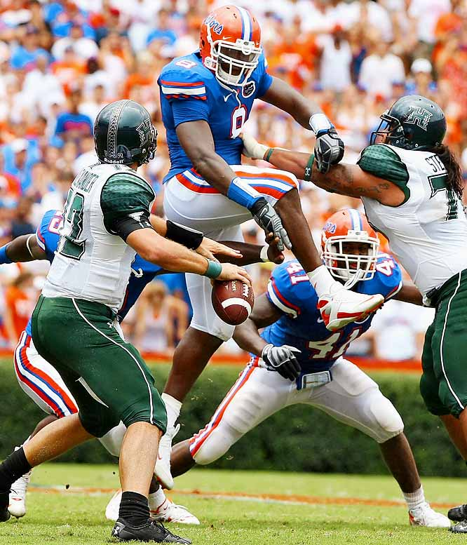 """Local media have dubbed Dunlap """"the sack master."""" Great size, athleticism and closing speed make Dunlap a nightmare for offensive linemen. Playing on a loaded Florida defense gives Dunlap more freedom, but he's talented enough to change games even when the opposition plans for him."""