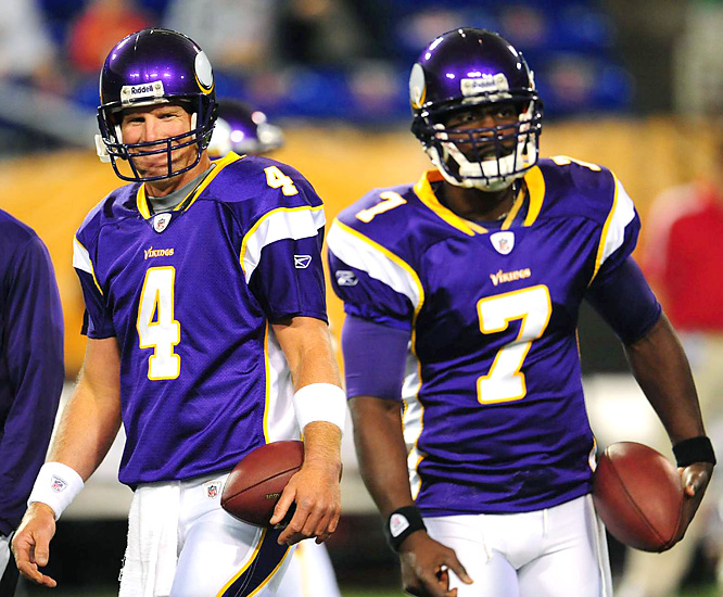 Brett Favre's arrival may lead to an eventual trade involving Tarvaris Jackson (right). On Friday, though, Jackson looked like a Pro Bowler, throwing for 202 yards and two scores.