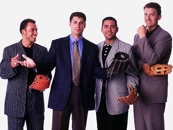 Infielders Rey Ordonez, Robin Ventura, Edgardo Alfonzo and John Olerud pose for an SI photo shoot.
